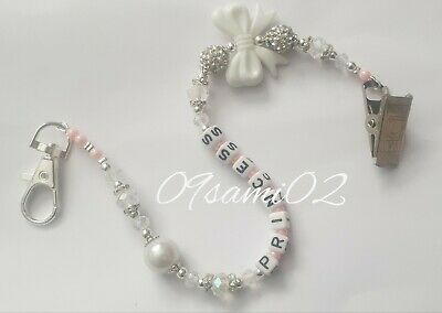Personalised Girls crystal Bling Dummy Clip Shamballa Bow Romany!!❤