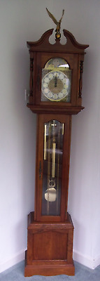 Vintage Grandmother Triple Chiming Longcase Clock in Cherry Wood Case