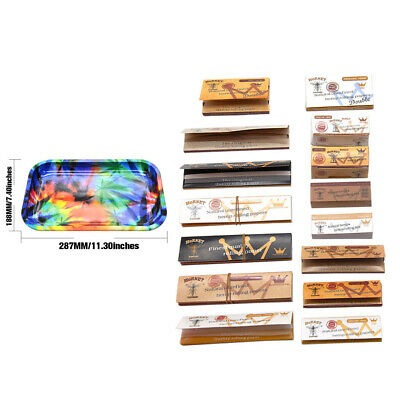16 X SET-Metal Rolling Tray + King Size 1 1/4 Rolling Papers + Paper Filter Tips