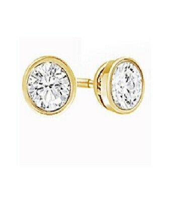 1 Carat Round Natural Diamond Bezel Stud Earrings In 14k Yello Solid Gold
