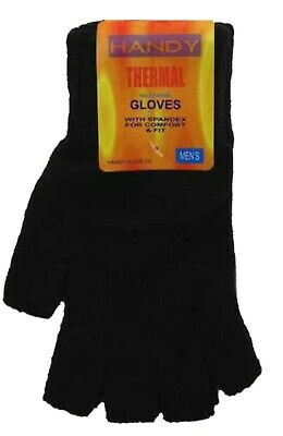 Mens Gents Youths Black Fingerless Thermal Warm Knitted Gloves One Size