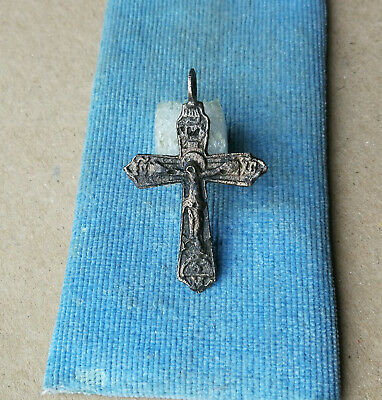 Early Medieval Bronze Cross with Prayer Crucified Jesus Christ