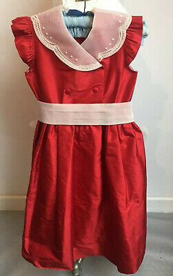 Vintage Girls party Dress in Christmas red sash seda formal traditional 6 years