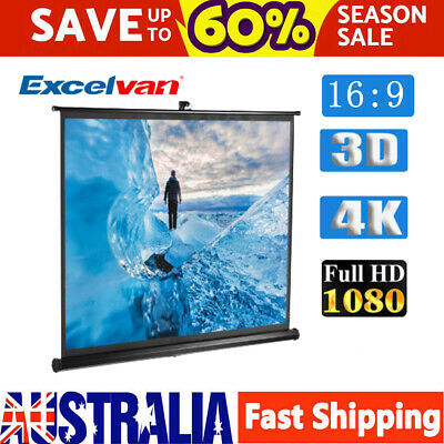 "100"" HD 1080P Projector Screen Portable TV Projection 3D 1.2 Gain Wall Ceiling"