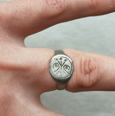 Ancient Viking Old Silver FABULOUS STATUS Ring Runic Ornament SUPER RARE