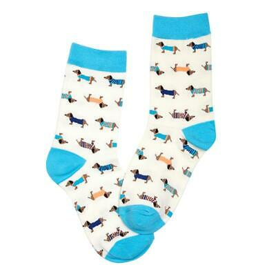 Millie Mae New for AW19 Womens Dachshund Dog Turquoise Socks