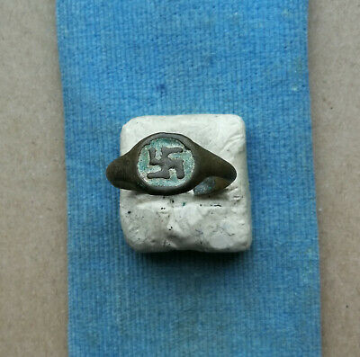 "Ancient Viking Bronze Ring Ornament "" Early Medieval SWASTIKA "" SUPER RARE"