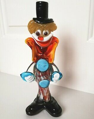 "MURANO GLASS CLOWN FIGURINE ORNAMENT 9 1/4"" TALL CHRISTMAS GIFT Made in Italy"