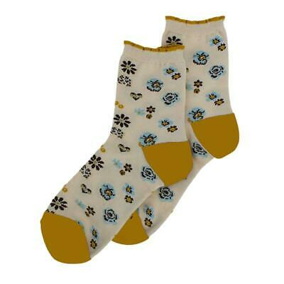Millie Mae New for AW19 Womens Pansy Floral Cream / Ochre Socks