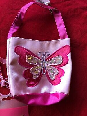 childrens Necklace Handbag And Hair Slides  With Butterfly Emblazons.