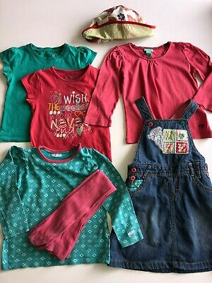 Girl's 3-piece M&S denim dress outfit, + 3 T-shirts + hat (inc Monsoon) age 3-4