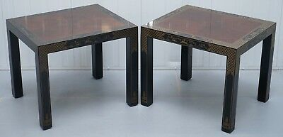 Pair Of Chinese Oriental Lacquered Side Tables Ornately Decorated Lovely Timber