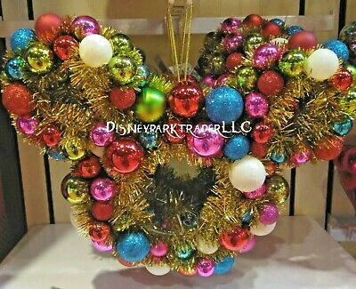 Disney Parks Mickey Mouse Icon Tinsel Holiday Wreath For Christmas 2019