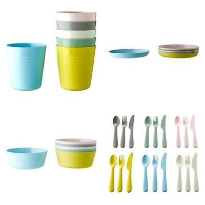 IKEA KALAS Kids Plastic Bowls Cups Plates Cutlery Set or Individual New Colours
