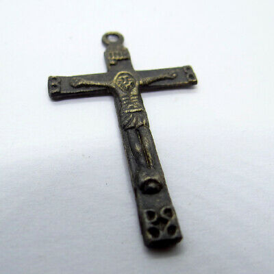 Old Ancient Artifact Bronze Double Sides Cross