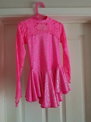 Pink Sparkle & Lace Juvenile Practice Dance Dress with Built in Leotrard