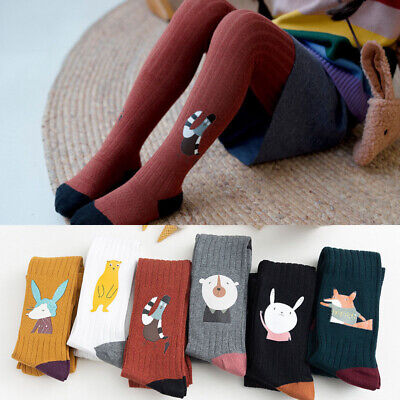 Children Girl Knitted Socks Warm Tight Leggings Hosiery Printed Winter Stockings