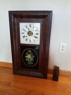"Rare Antique Seth Thomas 8 Day Weight Clock 29"" x 17"" Painted Glass Flower As-Is"