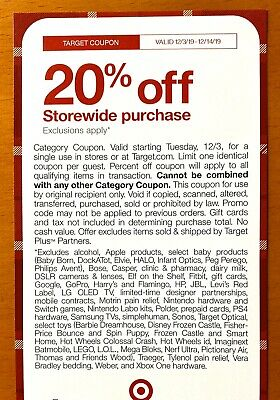 20% OFF Coupon On Target.com & In-Store (Valid 12/3-12/14/19) - See EXCLUSIONS