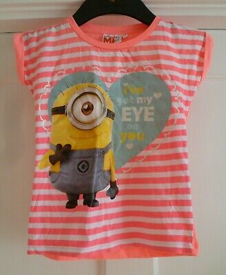 Girls Age 7-8 yrs Pink & White Striped Despicable Me Minions 100% Cotton Top