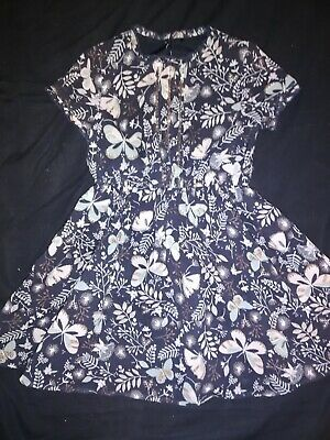 VGC Girls GEORGE Autumn Party Dress Christmas 4-5 Years Navy butterflies
