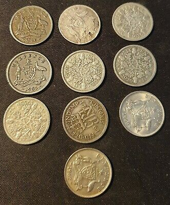 Bulk Lot of GB and Commonwealth Silver Sixpence Coins x10