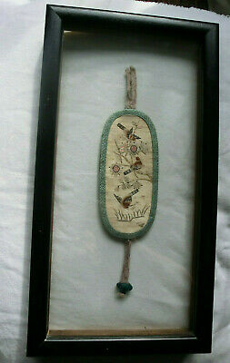 Antique Chinese Qing Silk Embroidery Eyeglasses Case Birds Poetry Framed
