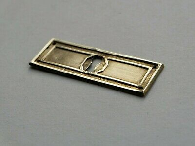 Antique stamped brass cabinet furniture drawer keyhole escutcheon plate 3 1/4""