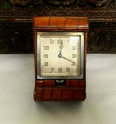 Antique  8 Day Crocodile Leather Travel Clock Very Nice Condition