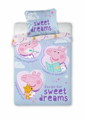 Lovely Peppa Pig Sweet Dreams Baby Toddler Bedding Set 100% COTTON Cot Cotbed