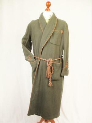 L - Vintage 1950's Jaeger Mens Brown Wool Night Gown Smoking Jacket - W77