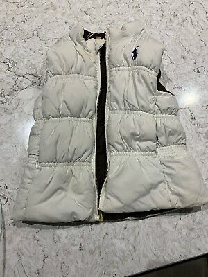 Girls Age 24months Ralph Lauren Reversable White And Brown Gilet