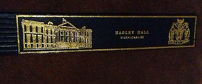Leather bookmark. Ragley Hall. Warwickshire. Two images.