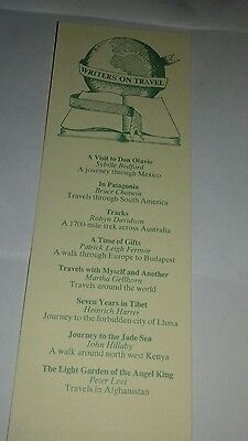 Cardboard bookmark. Writers on travel. A book marketing council promotion.