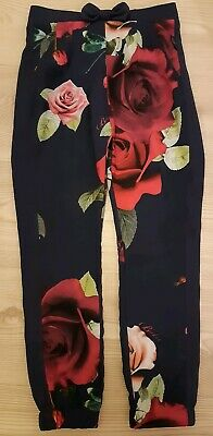 Girls Gorgeous Ted Baker Navy & Pink Satin Look Trousers Age 8-9