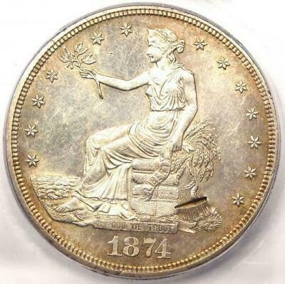 1874-CC Trade Silver Dollar T$1 - ICG MS60 Details (BU UNC) - Nice Luster!