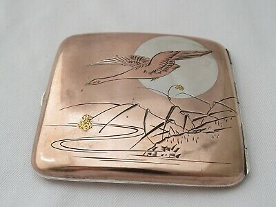 Vintage Japanese Mixed Metal Cigarette Case - Copper Silver And Gold Inlaid