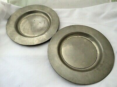 Matching Pair Of Antique Pewter Plates - London Marks