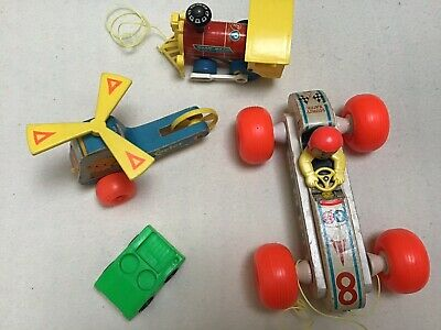 Vintage Fisher Price Pull Toy Lot of 3, with Little People Car