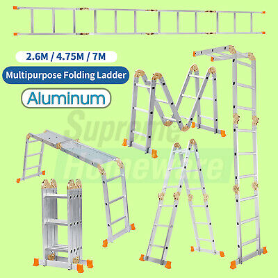 Extension Step Aluminum Folding Ladder Multi-purpose 2.6-4.75m Scaffold Footrest