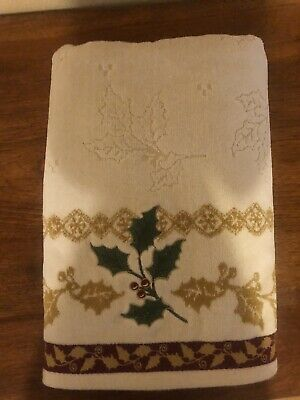 NWT Lenox Set of 2 NEW Kitchen Towels Ivory Embroidered Holly Design Christmas