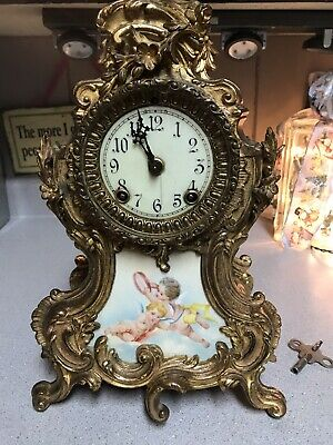 Antique Ansonia Trianon Porcelain Inset Clock 8day Time & Strike