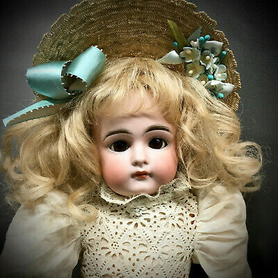 "Early Closed-Mouth # 7 Kestner 15"" Antique Cabinet Doll - Bisque Head German JDK"