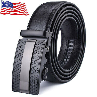 Men's Belt Fashion Classic Automatic Buckle Real Leather Ratchet Waistband Jeans