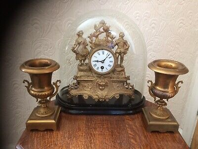 ANTIQUE FRENCH GILT 8 Day MANTEL CLOCK with GLASS DOME & GARNITURE.
