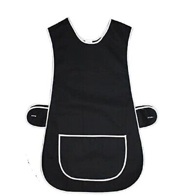 Ladies Women Tabard Apron Grey Overall Kitchen Cleaning Pocket Plus Size