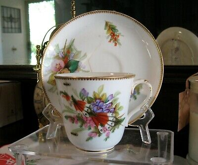 Royal Worcester Old Victorian  1880s Cup Saucer With a 4  Staple Repair .
