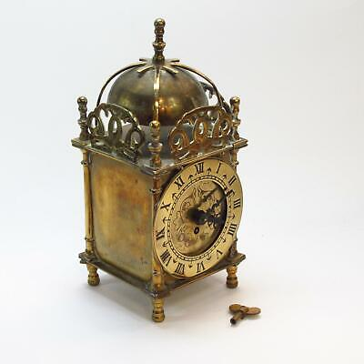 Smiths English Clocks Antique Brass 8-Day Wind-Up Mantel Clock w/ Key, Working