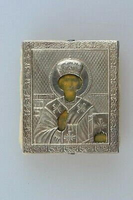 Antique Russian Orthodox Hand Painted Silver 84 Icon St. Nicolas of Myra 19th C.