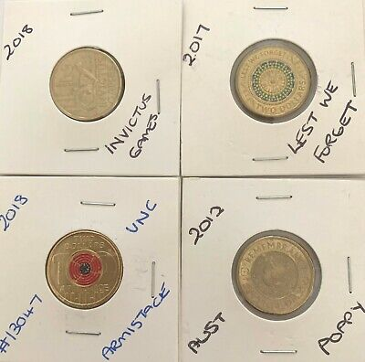 4 X Commemorative Army Coins Poppy, Rememberence Day, Armistace, Invictus Games
